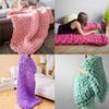 New Fashion Hand Chunky Knitted Blanket Thick Yarn Acrylic Fake Wool Bulky Knitting Throw Drop Shipping
