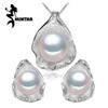 MINTHA Pearl Jewelry sets,pearl pendant necklace Earrings for Women,Cute Earrings and big size Shell pendant design,wedding