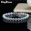 BlingZircons Trendy Green And White Cubic Zirconia Stone Setting Ladies Tennis Bracelets Silver 925 Jewelry For Women B100