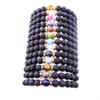 Fashion 8mm Natural Black Lava Stone Beads Bracelet DIY volcano Rock Essential Oil Diffuser Bracelet for women men