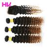 8a indian Ombre Human Hair Bundles with Closure deep wave T1B 4 30 Remy Hair weave hair extension