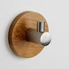3M Self Adhesive Robe Hook Wooden + 304 Stainless Steel Wall Coat Holder Hanger Clothes Towel Home Decor for Bathroom Kitchen Rustproof Hook