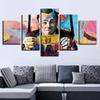 Canvas HD Printed Poster Frame 5 Pieces Abstract Graffiti U.S.Dollar Money Painting Modular Wall Art Pictures Living Room Decor