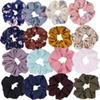 16 Colors Women Chiffon Flower Hair Scrunchies Hair Bow Chiffon Ponytail Holder Including 8 Colors Flower Hair Scrunchies and 8 Solid