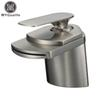 Wholesale- Free Shipping Brushed Nickel Basin Sink Faucet Deck Mount Waterfall Hot and Cold Water Bathroom Mixer Taps