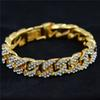 Gold color Men Hiphop iced out bling bracelets fashion rhinestone Miami cuban link chain hip hop bracelet men jewelry