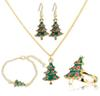 Christmas Jewelry Sets New Fashion Cartoon Christmas Trees Necklace Bracelet Earrings Ring Sets Women Christmas Decoration Jewelry