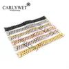 CARLYWET 20mm Silver Black Middle Gold Solid Curved End Screw Links Stainless Steel Replacement Wrist Watch Band Bracelet Strap