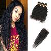 Brazilian Human Hair Bundles With Closure Unprocessed Deep Wave Curly Hair Weaves With Closure 3 Bundles Human Hair With Lace Closure