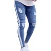 2018 New Fashion Knee Hole Side Zipper Slim Distressed Jeans Men Ripped Tore Up Streetwear Hiphop For Men Slim Stripe Pants