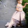 Champagne Flower Girls Dresses 2018 Off the Shoulder Sequins Ball Gown Ruffle High Front and Low Back Little Girls Pageant Dresses Gowns
