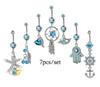 7pcs set Sexy Dangle Belly Bars Belly Button Rings Fashion Surgical Steel Rhinestone Body Jewelry Navel Piercing Rings