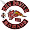 RED DEVILS NOMADS Cool Embroidery Patches Iron On Clothing Large Fashion MC Patch For Biker