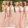 Hot Cheap Two Pieces Bridesmaid Dresses Tulle Skirt Blush Prom Dresses Bridesmaid Maxi Skirt Evening Party Gowns