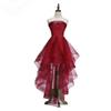 2018 Popular Fashion New Elegant Wine Red Cocktail Dress Bride Banquet Strapless Short Front Long Back Party Formal Gown