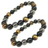 Free DHL 10MM Women Men Bracelets Natural Stone Bracelets Tiger Eye & Hematite & Black Obsidian Stone Tricolor Bracelet D814Q