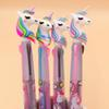 Unicorn Silicone Head 3 Color Press Ball Ballpoint Pen Writing Student Stationery School Office Supply 0.5mm