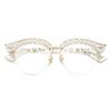 Cubojue Cat Eye Pearl Women Glasses Clear Lens Transparent Fashion Eyeglasses Frames Woman Half Frame Spectacles Eyeglass Ladies