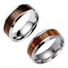 Wood Color Band Rings - Fashion Stainless Steel Wooden Rings For Men Women - Creative Steel Ring (US Size 6-13)