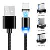 360 degree 3 in 1 LED Magnetic Cable USB Type C & Micro Cable Magnet Charger Cable for iX 8 7 6 Plus USB-C Type-C