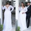 Vintage Lace Plus Size Wedding Dresses 2019 Plunging V Neck A Line New Long Sleeves Bridal Gowns Vestido De Novia Country Wedding Gowns