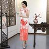 Floral Print Chinese Traditional Long Dress Modern Qipao Wedding Cheongsam Slim-fit dress long-sleeve modified Women's Clothing