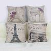 Retro PARIS Cotton Linen Home Pillow Case Throw Cover