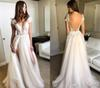 New Arrival Bohemian Wedding Dress A-Line Appliqued Tulle Long Boho Beach Country Garden Bride Bridal Gown Custom Made Plus Size