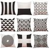Black and White Geometric Linen Cushion Cover Home Office Sofa Square Pillow Case Decorative Cushion Covers Pillowcases 2018 New(18*18inch)