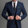 Navy Blue Formal Wedding Men Suits 2018 New Three Piece Notched Lapel Custom Made Business Groom Wedding Tuxedos (Jacket + Pants + Vest)