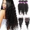 10A Grade Deep Wave Malaysian Virgin Hair 3 Bundles with Lace Closure Natural Color 100% Human Hair Wholesale Bundles Virgin Hair Hot Sell