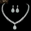 CWWZircons High Quality Cubic Zirconia Wedding Necklace And Earrings Luxury Crystal Bridal Jewelry Sets For Bridesmaids T109