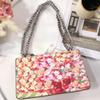 blooms women shoulder bags chain crossbody bag luxury brand flower leather handbags broadway messenger bags fashion purse Sylvie bag 2018