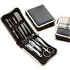 Manicure Tool Set Leather Case Zipper Bag Set of 9 Electroplated Nail Clipper Manicure Set