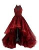 Halter High Low Ball Gown Tulle Dark Red Tiers Sexy Special Occasional Dresses Evening Dress Prom Dress