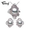 FENASY Freshwater Pearl Jewelry sets,stud earrings for Women Pearl Necklace Earring Wedding Jewelry,Shell pendant design