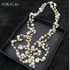 Simulated-pearls Beads Chain Necklace Hollow Camellia flowers Long Necklace Jewelry Gift cc channel layered