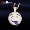 Drool Over Emoji Pendant With Tennis Chain Gold Silver Color Bling Cubic Zircon Men's Hip hop Necklace Jewelry For Gift