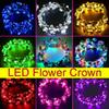 LED luminous Wreaths Glow Flower Crown Headbands For Bride Wedding Party Night Market Children Glowing Garland Crown Toys Head Ornaments