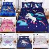 Unicorn Bedding Sets 3 Piece Cartoon Girl Bedding Set Cartoon Bedspreads Duvet Covers For Teens Kits Quilt Cover+Pillow Case Cover HH7-1797