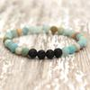 Essential Oil diffuser jewelry Popular 6mm Matte Amazonite Beaded Stretchy Bracelet Mala Wrist Gift Lava Bracelet Unisex