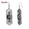 Szjinao Charm Earrings Fashion European Women Zircon Retro 925 Sterling Silver Black Earrings for Women Wedding Party