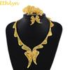 whole saleEthlyn White Color Stone Romantic Butterfly Jewelry Sets African Ethiopian Eritrea Gold Color Set For Women Wedding S177