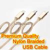 High Quality Nylon Braided 3 Meter Copper Wires USB Charging And Sync Cables Fast Charge Capability.