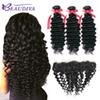 Beau Diva Deep Wave Bundles With Frontal Brazilian Human Hair 3 Bundles With Closure 13x4 Lace Frontal 9A Human Hair Soft And Healthy