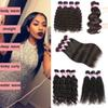 Grade 8a Brazilian Virgin Hair 3 Bundles Malaysian Indian Peruvian Body Deep Water Wave Straight Kinky Curly Human Hair Extensions 4 Bundles