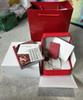 Luxury new square red for omega box watch booklet card tags and papers in english watches Box Original Inner Outer Men Wristwatch box om.