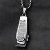 Valily Jewelry Men's Barber Pendant Necklace Stainless Steel Fashion Haircut Razor Shaver Silver Necklace For Men Box Chain