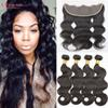 Peruvian Virgin Hair Body Wave With Lace Frontal 4Pcs Ear To Ear Lace Frontal Closure With Bundles Virgin Hair 13x4 Frontal With Bundles