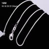 1mm 16~24inch 925 Sterling Silver Snake Chain Necklace 925 Stamped Snake Necklaces For Women Fashion Jewelry Cheap Discount 1pcs